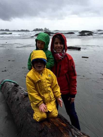 Josie and the two O boys on Chesterman Beach iPhone capture by Terrill Welch