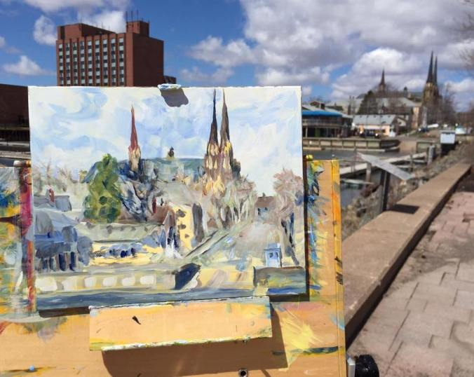 Plein Air painting Confederation Landing Charlottetown by Terrill Welch iphone
