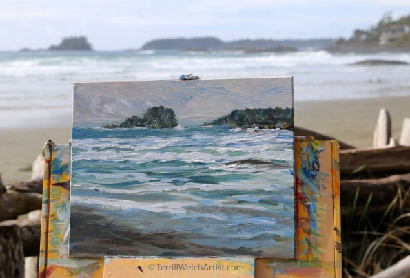 plein air painting on Chesterman Beach by Terrill Welch 2016-03-22 IMG_0734