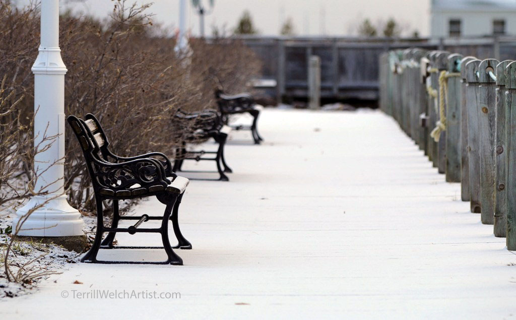 snow covered boardwalk Charlottetown late April PEI by Terrill Welch IMG_3107