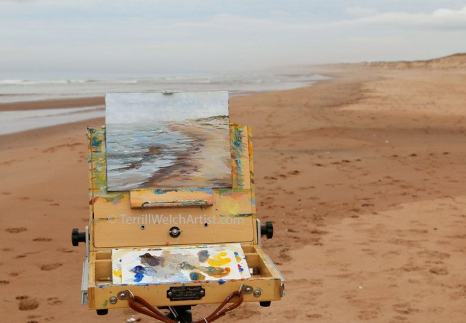 Plein air painting at Blooming Point PEI by Terrill Welch May 8 2016 IMG_3418