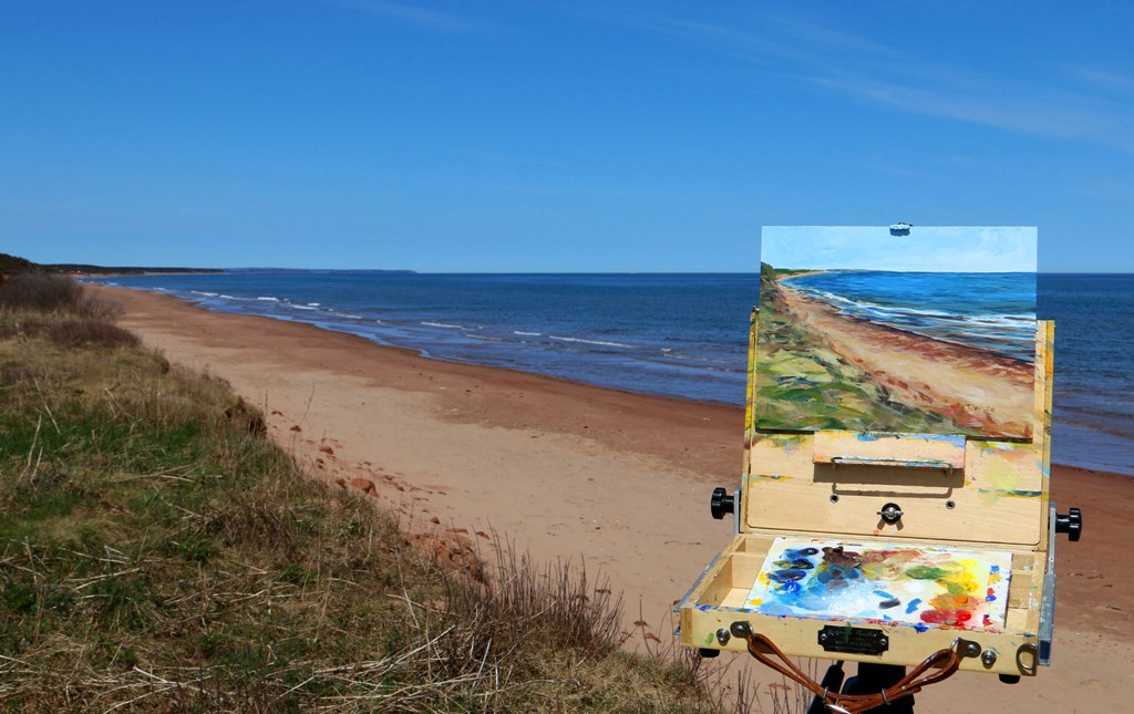 Standing on Dalvay Beach cliffs plein painting PEI by Terrill Welch IMG_3869