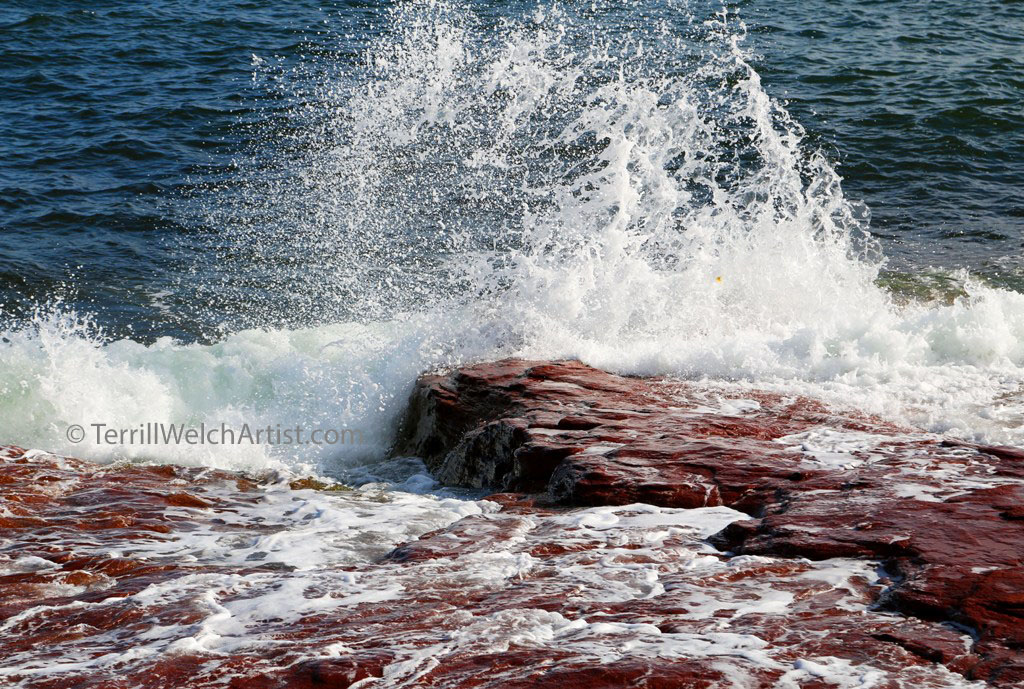 Wave connecting on the shores of Cavendish PEI by Terrill Welch IMG_3757