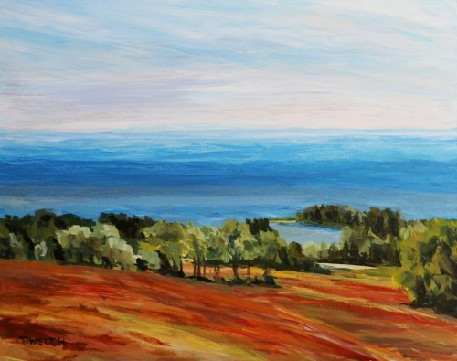 Hilltop View Above DeSable River PEI study 8 x 10 inch acrylic sketch by Terrill Welch IMG_5492