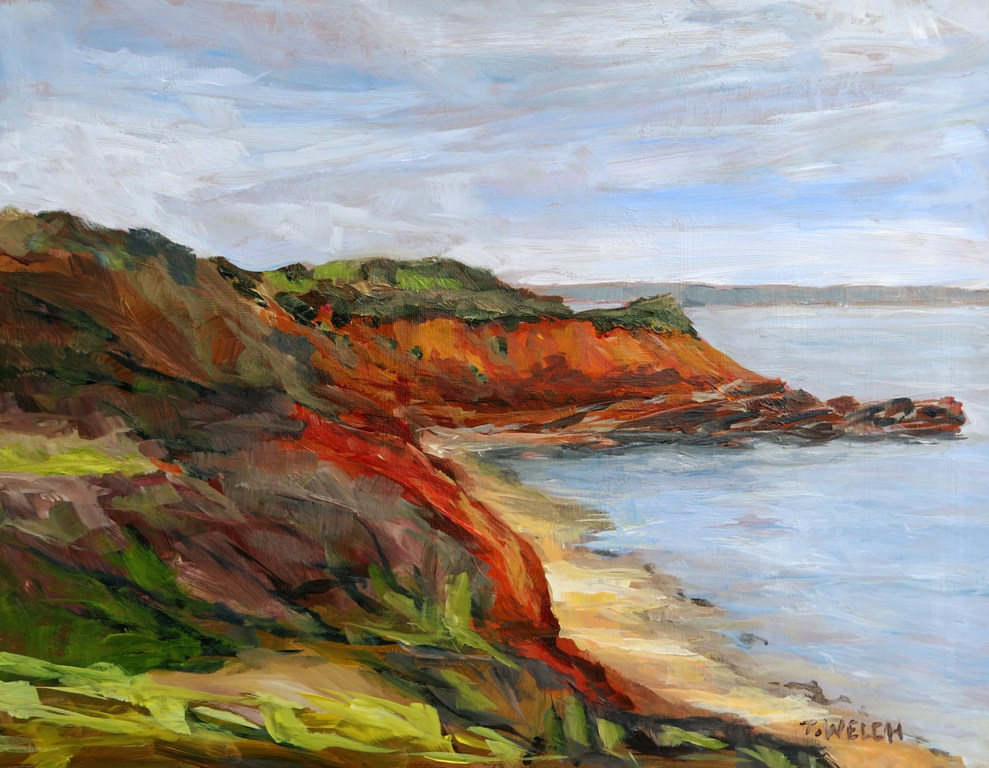 Wind Swept Murray Head PEI study 11 x 14 inch acrylic sketch on gessobord by Terrill Welch IMG_5245