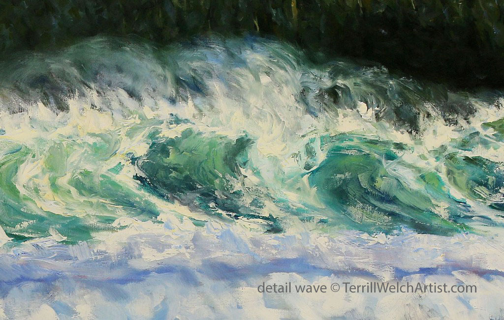 detail wave Sea and Sun Cox Bay Tofino BC 24 x 48 inch oil on canvas by Terrill Welch July 15 2016 IMG_7009