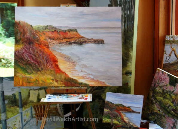 In Studio placing last brushstroke on first large East Coast #PEI painting by Terrill Welch  IMG_6453