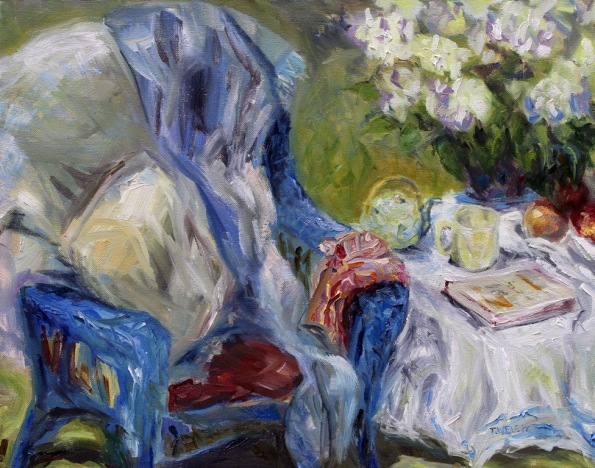 Spring Tea 16 x 20 inch oil on canvas plein air by Canadian Artist Terrill Welch 2015_04_25 140