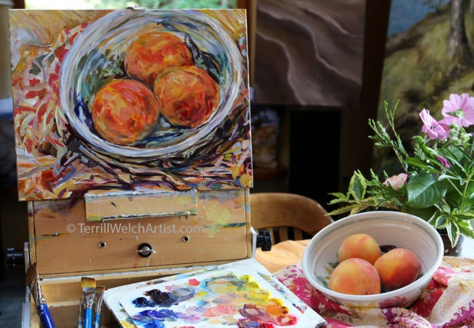 Almost done still life painting sketch of peaches by Terrill Welch August 26 2016 IMG_9338