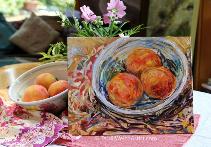 Still life painting sketch of peaches by Terrill Welch  IMG_9400