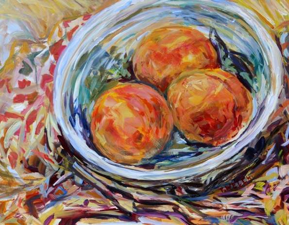 Study of Peaches 11 x 14 inch acrylic still life sketch by Terrill Welch August 26 2016 IMG_9390