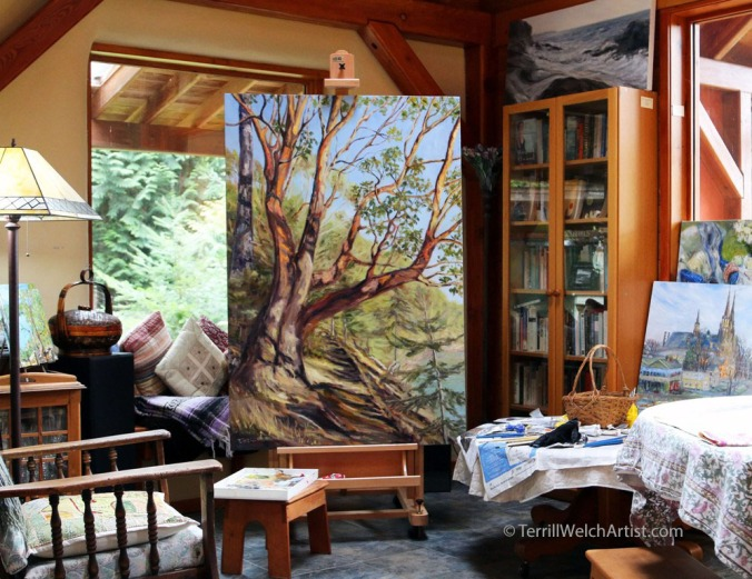 working-on-storytelling-arbutus-tree-bennett-bay-mayne-island-bc-60-x-40-inch-oil-on-canvas-by-terrill-welch-img_9550