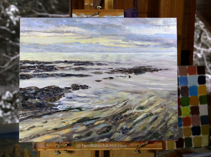 new-painting-melancholy-seas-14-x-18-nch-oil-on-canvas-rests-on-the-easel-by-terrill-welch-img_9849