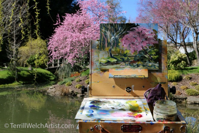 only while doing a quick painting sketch at the edge of the pond in the japanese garden did i forget how miserable i was feeling - Japanese Garden Cherry Blossom Paintings