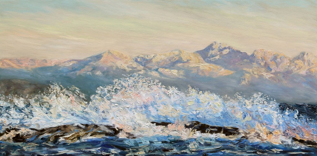 Northeasterly Morning Strait of Georgia Mayne Island BC 20 x 40 inch oil on canvas by Terrill Welch